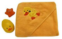 100% Cotton Baby Hooded Towel Yellow Duck Design Unisex Boys Girls 75*75 cm