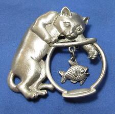 Vintage JJ Cat Kitten Dangle Goldfish Fishbowl Pewtertone Silvertone Pin Brooch