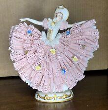 Large Antique German Dresden Lace Victorian Lady Dancer Porcelain Figurine