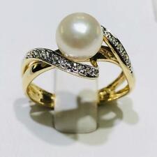 20f85b8e4432 14k Oro Amarillo Original Diamantes   Cultivada Perla Infinito Anillo de  Banda