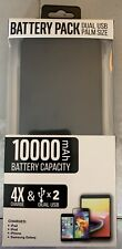 Dual USB Slim Rechargeable Battery Pack Power Bank 10000mAh - Black