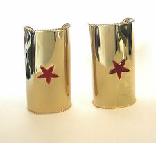 Wonder Gold Star Metal Cuffs Adult Woman Halloween Costume Accessoy Arm Bands