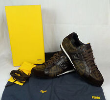 100% Auth. FENDI Low Top Shoes Leather Trainers Sneakers Size 7.5 / 40.5 MINT