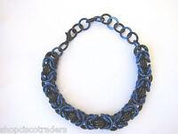 Artisan Unisex Chain Mail Bracelet Anodized Aluminum Byzantine Weave Black Blue