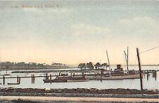 c.1910 Boats at Dock Walkers Island Bristol RI post card