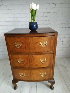 Antique Georgian Style Walnut Small Chest of Drawers Vintage Bedside Cabinet