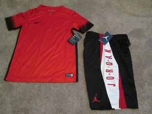 NEW 2Pc NIKE Air Jordan Boys OUTFIT Blk/Red/Wht Shorts+Red Top YMD FREE SHIP