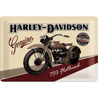 Harley Davidson Flathead Nostalgie Blechschild 30 cm NEU  shield