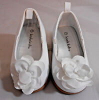 Koala Kids Girls Toddler Ballet Flats Size 3 Patent w/ Cloth Flower Shoes White