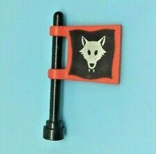 LEGO 2335 WOLFMAN Red & Black PATTERN Flag & Black Pole 6038, 6075