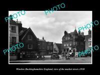 OLD POSTCARD SIZE PHOTO WINSLOW BUCKINGHAMSHIRE ENGLAND MARKET & STORES c1930