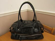 FCUK Large Black Patent Overnight Weekend Bag