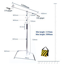 SUPER HEAVY DUTY 300CM SOLID C STAND TURTLE BASE W127CM BOOM ARM ARM GRIP HEAD