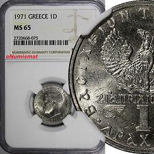 GREECE Constantine II Copper-Nickel 1971 1 Drachma NGC MS65 KM# 98