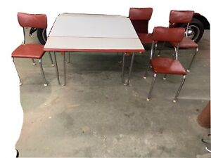 Vintage 1950's Chrome & Porcelain Kitchen Table w/Leafs  Red  White And Chairs