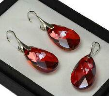925 Silver Earrings/Set made with Swarovski Crystals 22mm PEAR - Red Magma