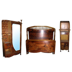 c. 1900 Art Nouveau Bedroom Suite  by Louis Majorelle, France. 3-pc. #6672