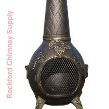 Wood Burning Chiminea Grape Design Outdoor Fireplace Cast Aluminum
