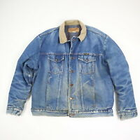 Vtg Wrangler Blanket Lined Denim Trucker Jacket Faded Distressed Workwear sz 46
