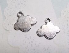 4 Cloud Charms Metal Stamping Blanks Jewelry Supplies Antiqued Silver Pendants