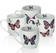 4pc Púrpura, Blanco, Taza Conjunto de Porcelana Mariposa Patrón