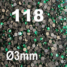 500 Strass thermocollant RHINESTONE hotfix Ø 3 mm ss10 EMERAUDE N° 118