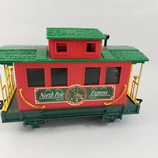 """Christmas Holiday Caboose Train Car Red Green and Gold 9"""" L 4"""" W 6"""" H"""
