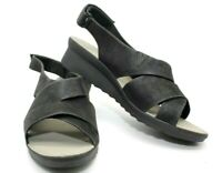 CLARKS CLOUDSTEPPERS CADDELL BRIGHT BLACK SLINGBACK WEDGE WOMEN'S SIZE 9W