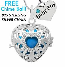 Baby Boy Heart Angel Caller Harmony Chime Ball Necklace 925 Sterling Chain Gift