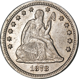 1878-CC Seated Liberty Quarter Nice AU Details Nice Eye Appeal Nice Strike