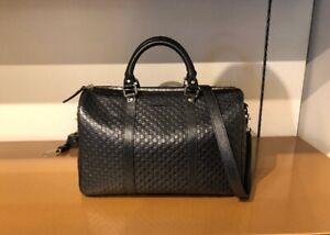 Gucci Medium Black Leather Handbag Boston Microguccissima w/Det Strap more Color