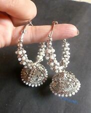 Antique Silver Plated Pearl Setting Indian Bridal Ring Jhumki Earrings Set