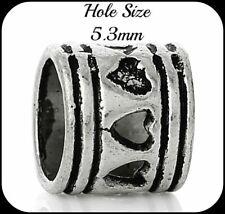 Set of 6 Tibetan Silver 7mm Beads Hole 5.3mm