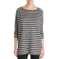 Eileen Fisher Womens Linen Striped Bateau Neck Tunic Top Shirt BHFO 7704