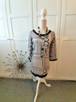 SMART LADIES TUNIC DRESS SIZE 12 BLACK WHITE OFFICE WEDDING CASUAL