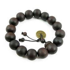 Antique Men's Wood Buddha Buddhist Prayer Beads Tibet Mala Bangle Wrist Bracelet