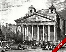 ROMAN PANTHEON TEMPLE OF ALL GODS ENGRAVING PAINTING ROME ART REAL CANVAS PRINT