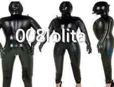 100%Latex Rubber Black Catsuit Inflatable Stylish Hood Bodysuit Size XS~XXL