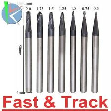 frese Ball Nose 7pcs Radius 0.5-2.0mm 2 Flutes  End Mill Cutter Set CNC Tool