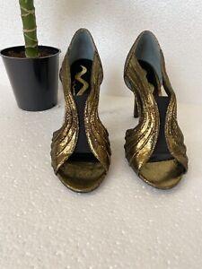 Nina Shoes gold heels women's SZ 8