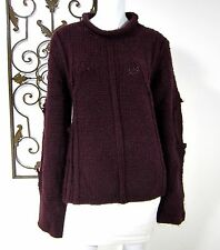 JUST CAVALLI EXTRA LONG SLEEVE OVER SIZED SWEATER SIZE 54 SOLID DARK PURPLE