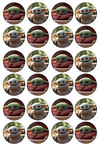 24x Baby Yoda Starwars Edible Icing Cupcake Cake Toppers Decorations 4cm (uncut)