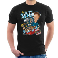 Beavis And Butthead Butt Munch Cereal Cornholio Funny Black T-Shirt S-6XL