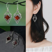 Chic Hook Natural Stone Red Agate Earrings Dangle  Gemstone  Ruby Ear Stud