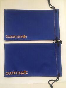 Lot Of 2 Ocean Pacific Logo Drawstring Glasses Case Blue  - New Sunglasses