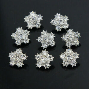 8 Pcs Sewing Rhinestone Shank Buttons Bridal Dress Diamante Crystal DIY Craft