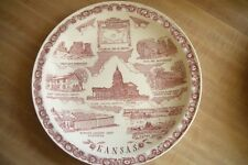 Vernon Kilns California pottery Kansas state collector plate~Ultra maroon-NR