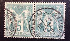 France N°64 5 C Vert  Oblitéré En Paire TTB Cote 135€ +