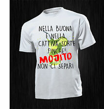 TSHIRT UOMO DONNA  HAPPINESS FRASE DIVERTENTE  MOJITO DRUNK PARTY