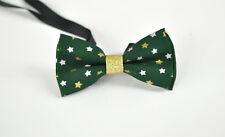 Men Women 100% Cotton Xmas Christmas STARS  GREEN Bow Tie Bowtie Party Wedding